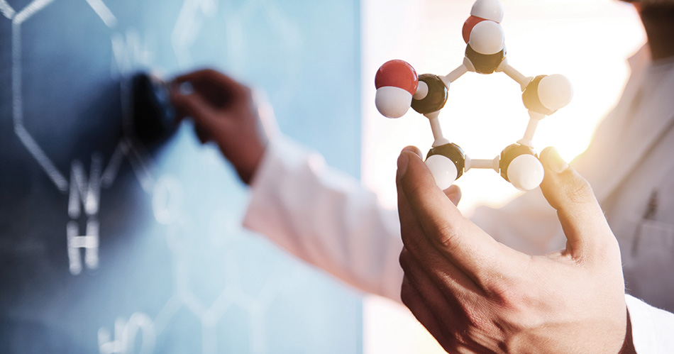 Scientist holding up a model of molecules while writing structures on a blackboard