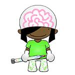 FutureMorph cartoon character holding syringe