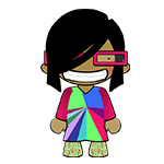 Future Morph cartoon character wearing psychedelic dress and pink glasses