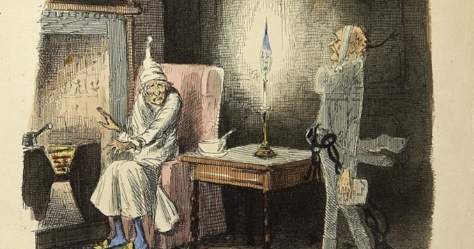 Period illustration of two men in a room lit by candlelight and keeping warm over a stove