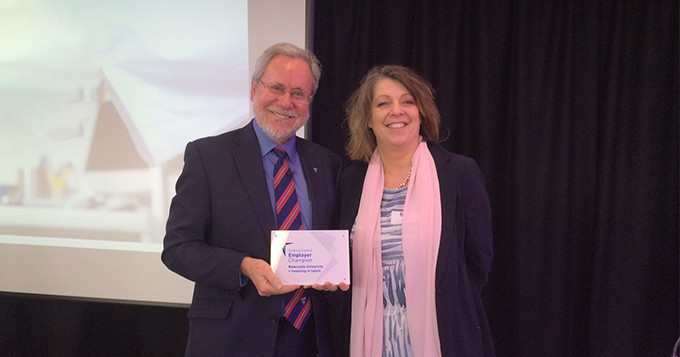 Science Council CEO, Belinda Phipps, presents Newcastle University' Vice Chancellor, Professor Chris Brink, with their Employer Champion plaque