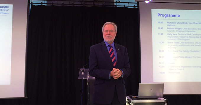Newcastle University's Vice Chancellor, Professor Chris Brink, presenting his welcome