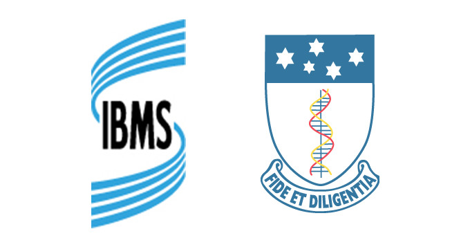 Logos of the Institute of Biomedical Science and the Australian Institute of Medical Scientists