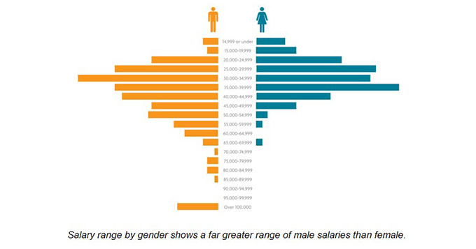 Pictorial chart showing salary range by gender. It shows a far greater range of male salaries than female.