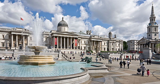 Trafalgar Square view of the National Gallery in London