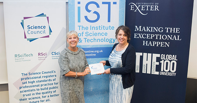 University of Exeter Registrar receives an Employer Champion plaque from Science Council Chief Executive, Belinda Phipps.