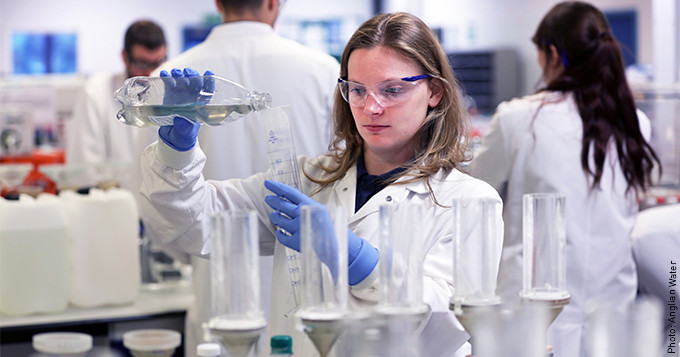 Anglian Water scientist Hayley in the lab