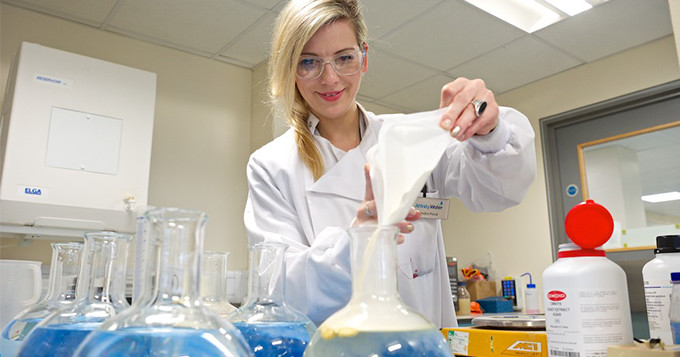 Affinity Water scientist Sandra RSci in the lab