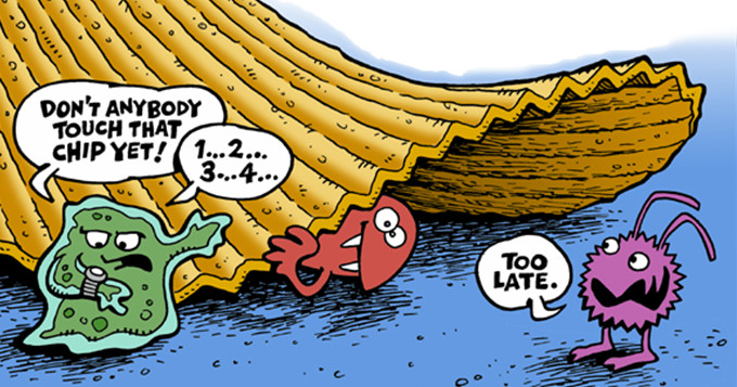 Cartoon image of a crisp fallen to the ground. Original artwork: Greg Williams. Wikpedia.