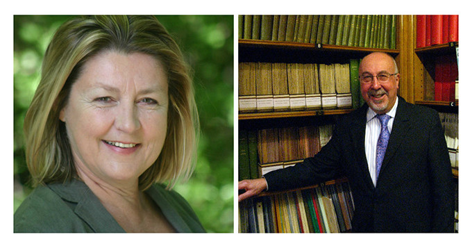 Portrait photos of Dr Heather Barrett-Mold and Edmund Nickless