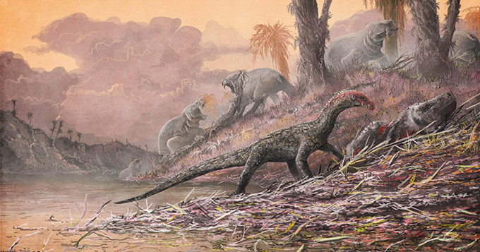Illustration: A reconstruction of T. rhadinus feasting on a relative of early mammals. Credit: Natural History Museum, London, artwork by Mark Witton