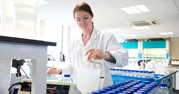 Water scientist working in a lab