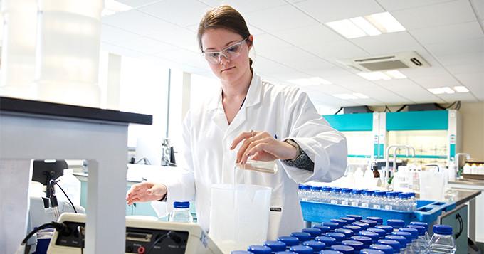Water scientist working in a lab