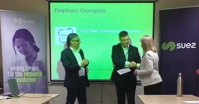 Suez WTS being presented with their Employer Champion award